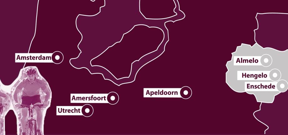 Twente ligt in het Oosten van Nederland