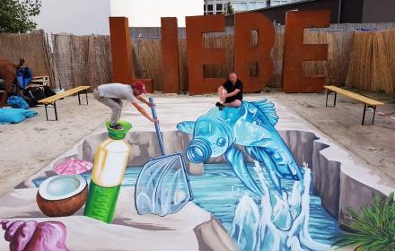 3D Street Paintings betrekken Zwollenaren bij klimaatverandering