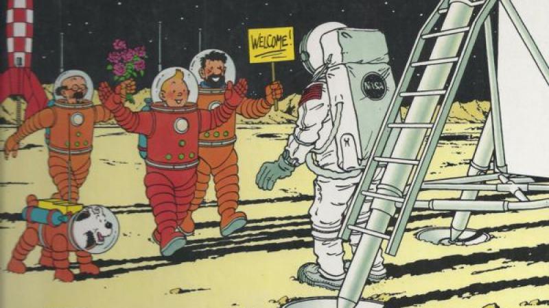 On the moon again! Neil Armstrong in de voetsporen van Kuifje.