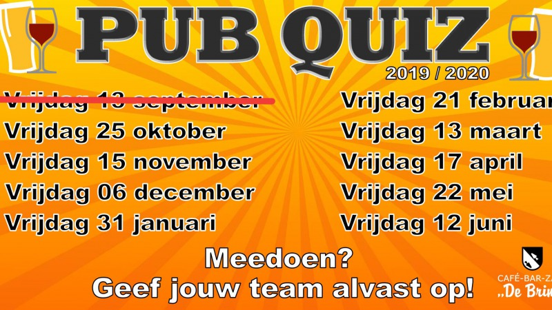Pub Quiz in Café De Brink AFGELAST