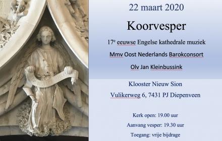 Koorvesper met Engelse kathedrale muziek uit de 17e eeuw.