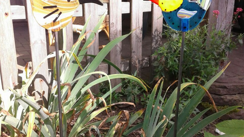 Glasfusen vogel of bloem