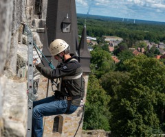 Abseilen van het kasteel in Bad Bentheim
