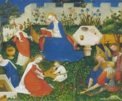 Witte lelie, blauwe iris, rode roos, symboliek op middeleeuwse schilderijen