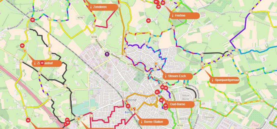 Overzicht routenetwerk
