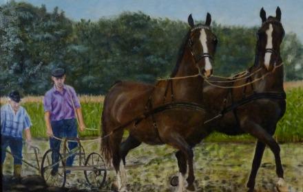Een schilderende boer exposeert